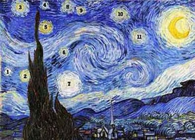تابلو شب پرستاره و 11 ستاره